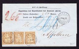 1869 Nachnahme Brief Mit 3er Streifen 5 Rp. Stempel Zürich, Ausgabebüro Nach Affoltern. Rückseitig Etwas Eingerissen. - 1862-1881 Helvetia Assise (dentelés)