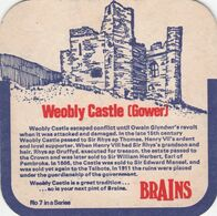 BEERMAT - BRAINS BREWERY  (CARDIFF, WALES) - WEOBLY CASTLE GOWER - (Cat No 040) - (1975) - Portavasos