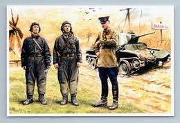 USSR SOVIET TANKISTS WWII Tank Military Before Battle Ukraine New Postcard - Guerra 1939-45