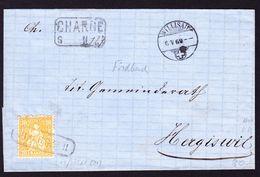 1869 Charge-Faltbrief Nach Hergiswil. 20 Rp Frankatur Mit Kastenstempel Fischbach. - 1862-1881 Helvetia Assise (dentelés)