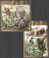 CA078 2016 CENTRAL AFRICA CENTRAFRICAINE FAUNA WILD ANIMALS PRIMATES MONKEYS LES SINGES KB+BL MNH - Monkeys