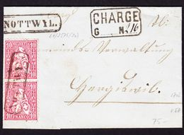 1867 Charge-Faltbrief. 10 Rp Rot Im Paar, Mit Kastenstempel NOTTWYL - 1862-1881 Helvetia Assise (dentelés)