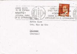 37211. Carta BARCELONA 1982. Rodillo Especial CENSATE, Censo Para Extranjeros - 1931-Heute: 2. Rep. - ... Juan Carlos I