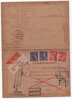 Recommandé Carte Contre-remboursement Chèques Postaux 1940 Affranchissement IRIS + MERCURE TAXE Banderole Duval 1F Aisne - Taxes