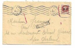 Timbre Pétain Surchargé R.F. Sur Lettre,Obli. LYON-GARE 28.11.44 - GRIFFE INADMIS - Pétain Demonétisé - Libération - WW2 - Marcofilia (sobres)