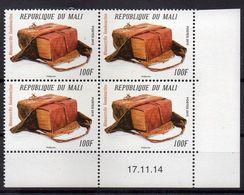 """MALI Coin Daté 17 11 2014 De 4 Timbres """" Manuscrits Tombouctou """" 100 F . Imprimerie Phil@poste - Mali (1959-...)"""