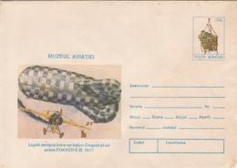 89243- CAQUOT BALLOON AND FOKKER-E III PLANE, WW1, HISTORY, COVER STATIONERY, 1996, ROMANIA - WW1