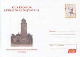 89244- MATEIAS HEROES MAUSOLEUM, WW1, HISTORY, COVER STATIONERY, 2005, ROMANIA - WW1