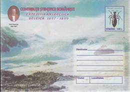 89313- INSECT, EMIL RACOVITA, BELGICA ANTARCTIC EXPEDITION, POLAR PHILATELY, COVER STATIONERY, 1999, ROMANIA - Expediciones Antárticas