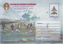 89319- PENGUINS, EMIL RACOVITA, BELGICA ANTARCTIC EXPEDITION, POLAR PHILATELY, COVER STATIONERY, 1999, ROMANIA - Expediciones Antárticas