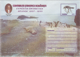 89320- PENGUINS, SEAL, EMIL RACOVITA, BELGICA ANTARCTIC EXPEDITION, POLAR PHILATELY, COVER STATIONERY, 1999, ROMANIA - Expediciones Antárticas