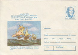 89330- SHIP, DISCOVERY OF AMERICA, CRISTOPHER COLUMBUS, FAMOUS PEOPLE, COVER STATIONERY, 1992, ROMANIA - Christopher Columbus