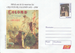 89331- SHIP, DISCOVERY OF AMERICA, CRISTOPHER COLUMBUS, FAMOUS PEOPLE, COVER STATIONERY, 2006, ROMANIA - Christopher Columbus