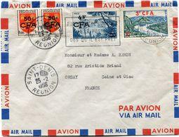 REUNION LETTRE PAR AVION DEPART SAINT-DENIS 25-2-1956 REUNION POUR LA FRANCE - Reunion Island (1852-1975)