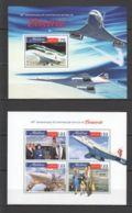 ML055 2016 MALDIVES TRANSPORT AVIATION CONCORDE 1KB+1BL MNH - Concorde