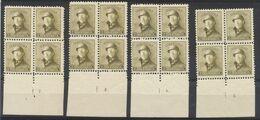 Roi Casqué - N°166 En Bloc De 4 ** + Numéro De Planche çàd 8 Exemplaires (2,3,4,5, 6,7,9 Et 13 - 1919-1920  Cascos De Trinchera