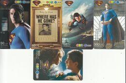 5 X Thailand Phonecard 12Call - Superman - Thaïland