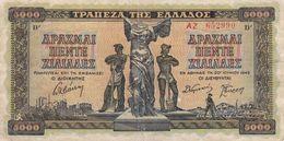GRECE  Billet De  5000  Drachmes  1942 - Greece