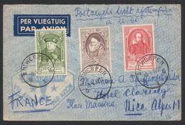 U.P.U. - Affranch. Tricolore Sur Lettre Expédié Par Avion De Antwerpen (1952) > Nice (France). - Lettres & Documents
