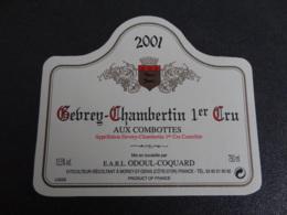 Etiquette De Bourgogne Gevrey Chambertin 1er Cru Aux Combottes 2001 Odoul Coquard - Bourgogne
