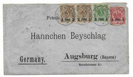 Deutsches Reich Umschlag Deutsch Ost - Afrika 1896 Dar Es Salaam - Augsburg Bayern Mischfrankierung # 1I (paar), 2I, 3I - Kolonie: Duits Oost-Afrika