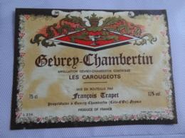 Etiquette De Bourgogne Gevrey Chambertin Les Carougeots Trapet - Bourgogne
