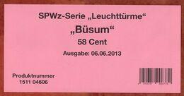 Verkaufsverpackung Inhaltsblatt, SPWz Leuchtturm Buesum, 2013 (96450) - Covers & Documents