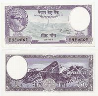 Nepal  P. 9  5 Rupees 1956 Sign. 4 UNC - Nepal