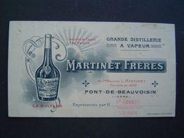 CARTE REPRESENTANT Ancienne 1900 : DISTILLERIE MARTINET FRERES / PONT DE BEAUVOISIN / ISERE - 1900 – 1949