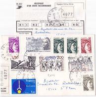 21146# SABINE LETTRE RECOMMANDE Obl MURAT CANTAL 1981 Pour ST FLOUR + RECEPISSE SAINT - Marcofilie (Brieven)