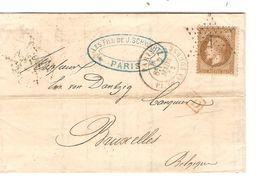 REF1424/ TP 30 S/LAC Banque Fonds Publics Fils De J.Schwartz C.Paris PL.Bourse 7/3/1872 + Etoile 1 > Belgique Bruxelles - 1849-1876: Periodo Clásico