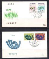 Belgie Belgique 1972 1973 OCBn° 1623-24 Et 1669-70 FDC Cept Europa  Cote 6,00 € - 1971-80