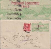 Hawaii / USA 1893 / 1922. Entier Postal Surchargé, Réutilisé Depuis Honolulu. Voiliers Et Bateaux Devant Les Volcans - Volcanos