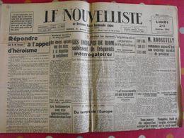 Journal Le Nouvelliste Du 20 Janvier 1941. Occupation Collaboration Riom Prisonniers Nouvelles Allemandes - War 1939-45