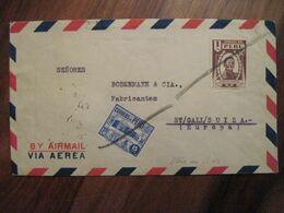 Perou 1957 Peru Obliteration Manuelle Voir Le Dos Enveloppe Cover Air Mail Par Avion Via Aerea - Peru