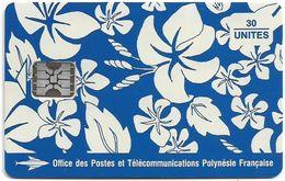 French Polynesia - OPT - Motif Paréo (Dark Blue) - SC5 SB, Matt Finish, Cn. 00485 White 9mm, 30Units, Used - Polynésie Française