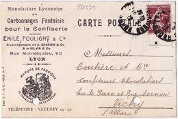 21159# SEMEUSE 139 PERFORE E.P. EMILE POULIGNY PERFIN CARTE POSTALE Obl LYON RHONE 1922 CONFISERIE - Francia