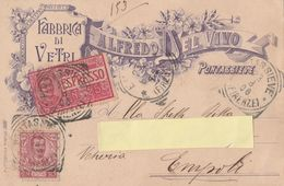 "Cartolina Pubblicitaria  - Postcard /    Viaggiata - Sent / Fabbrica Di Vetri "" Alfredo De Vivo "" - Pontassieve. - Publicité"