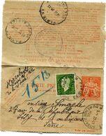 FRANCE CARTE PNEUMATIQUE AVEC AFFRANCHISSEMENT COMPLEMENTAIRE 3F DULAC DEPART PARIS 23-11-45 POUR LA FRANCE - 1944-45 Maríanne De Dulac