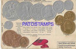139534 UK ART EMBOSSED MULTI COIN & FLAG POSTAL POSTCARD - Non Classificati