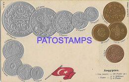 139535 AFRICA EGYPT ART EMBOSSED MULTI COIN & FLAG POSTAL POSTCARD - Egypt