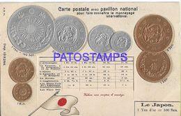 139536 JAPAN ART EMBOSSED MULTI COIN & FLAG POSTAL POSTCARD - Non Classificati