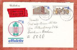 U 6 Leipziger Fruehjahrsmesse 1987, Eilsendung Expres, Leipzig Nach Frechen 1988 (96470) - Sobres - Usados