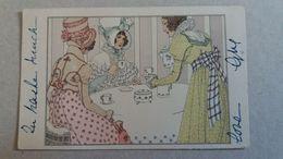 CPA ILLUSTRATRICE A WANKE ? FEMME ELEGANTE RECEVANT AMIES POUR THE OU CHOCOLAT 1900 - Illustratori & Fotografie