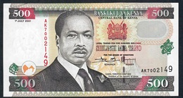 KENYA RARE SIGNATURE VARIETY P38f2 500 SHILI NGI 1st JULY 2001 #AK Signature 16b (23,25 Mm Wide)    AU++/UNC. ! - Kenya