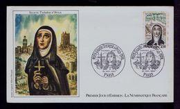 Sainte Thérèse D'Avila 1515-1582 Spain Monatères Canonisée 1622 Fdc France Paris Sp7011 - Religions