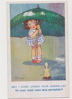 Carte  Signée A.Richardson / Fillette Et Canard Sous La Pluie Tu Veux Venir Sous Mon Parapluie? - Children's Drawings