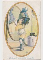 Carte Fantaisie Humoristique Signée A.Wuyts / La Mode / Fillette Se Maquillant .Un Brin De Poudre Et Je Suis Prête - Children's Drawings