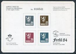 1984 Norway Stamp Exhibition Souvenir Sheet FREFIL 84 Lions Fredrikstad - Norwegen