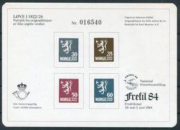 1984 Norway Stamp Exhibition Souvenir Sheet FREFIL 84 Lions Fredrikstad Bridge - Norwegen